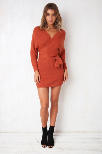 Eyes Wide Open Dress - Rust