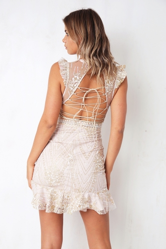 Lock It Down Dress - Beige Glitter