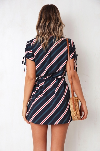 Here's My Number Dress - Navy Stripe