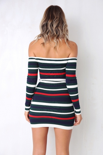 On My Mind Dress - Green/Red Stripe