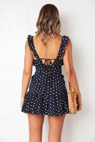 Draw Attention Dress - Navy Spot