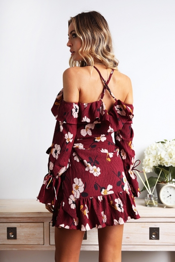 Deep Discussion Dress - Wine Print