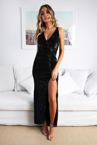 Starry Night Gown - Black Sequin