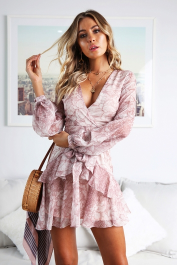 Fly With Me Dress - Nude Print