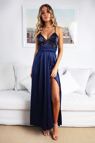Wont Let you Fall Dress - Navy Sequin
