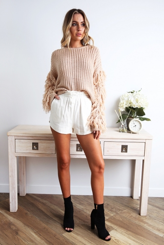 Open Boulevard Shorts - White Linen