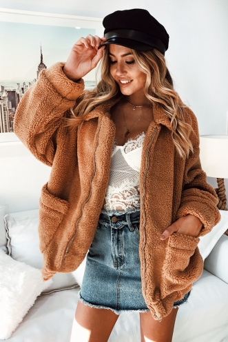 Escape The Day Teddy Jacket - Tan