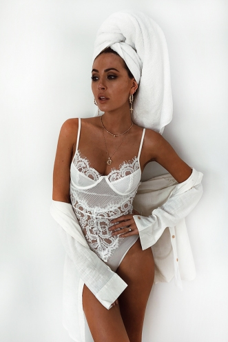 Lounge All Day Bodysuit - White