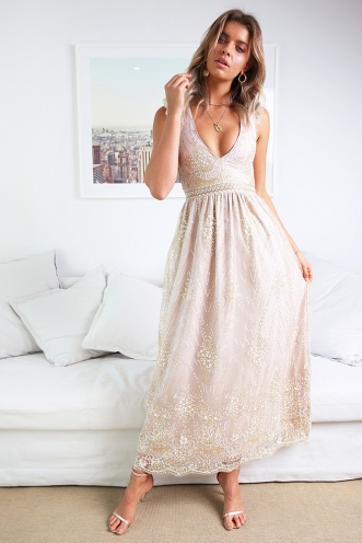Look At Me Now Dress - Blush Sequin