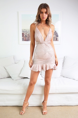 Bang Bang Dress - Rose Gold Sparkle