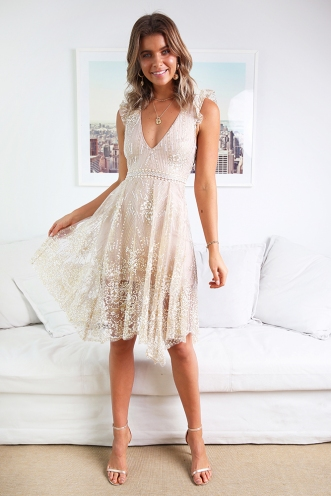 Stack Cake Dress - Blush Sequin