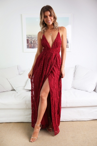 Laila Dress - Maroon Lace