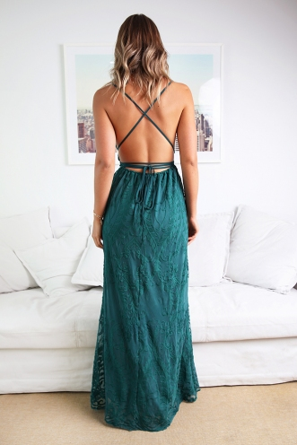 Laila Dress - Green Lace