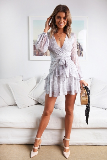 Fly With Me Dress - Grey Print