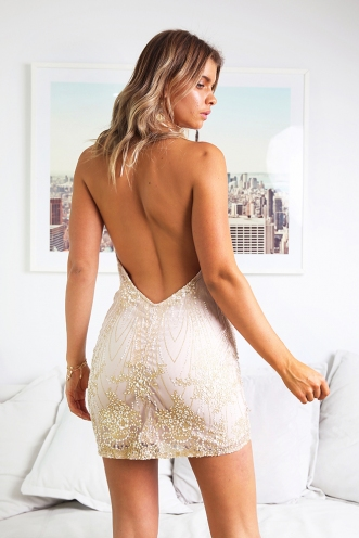 Going Crazy Dress - Beige/Gold Glitter