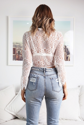 Run To You Top - White Lace