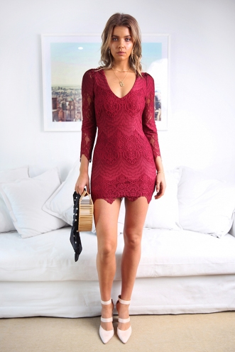 Misguided Angel Dress - Burgundy