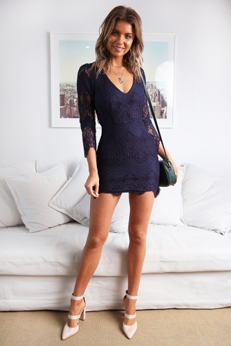Misguided Angel Dress - Navy