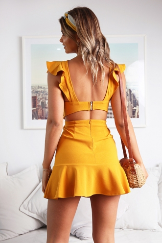 Someday, Someway Dress - Mustard