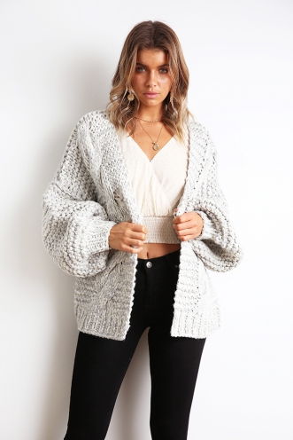 Linen Lounging Cardigan - Marble Grey