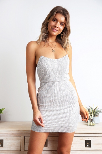 Don't Give A Damn Dress - Silver Sequin