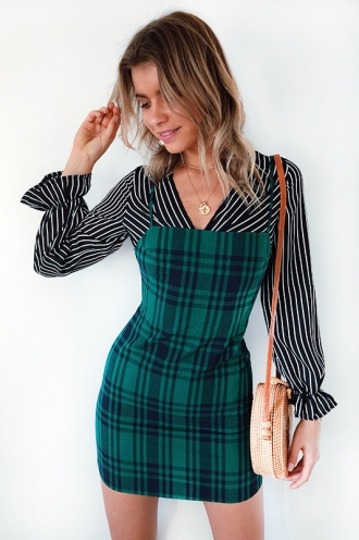 French Connections Dress - Green Check