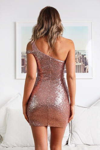 Alanah Sequin Dress - Rose Gold