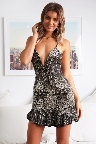 Get Ready Dress - Black Sparkle