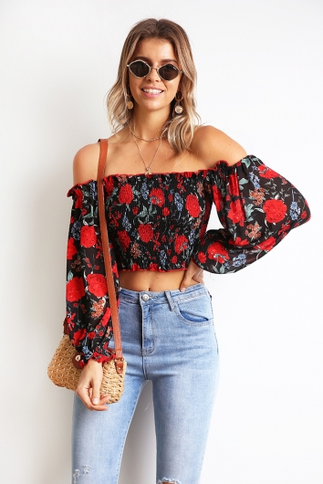 Modern Hero Top - Black Floral