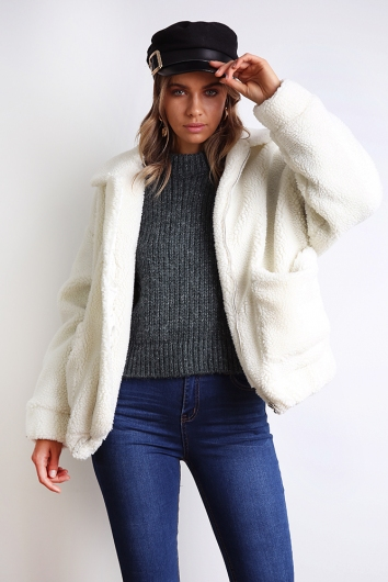 Escape The Day Teddy Jacket - White