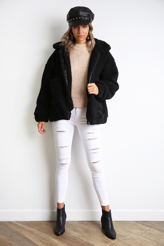 About Time Teddy Jacket - Black