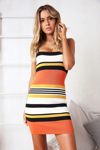 Honey Don't Dress - Orange/Yellow Stripe