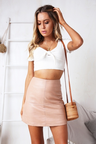 Lexi Skirt - Beige Pleather