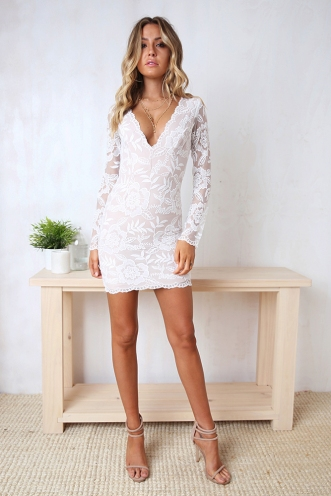 Macy Dress - Beige/White