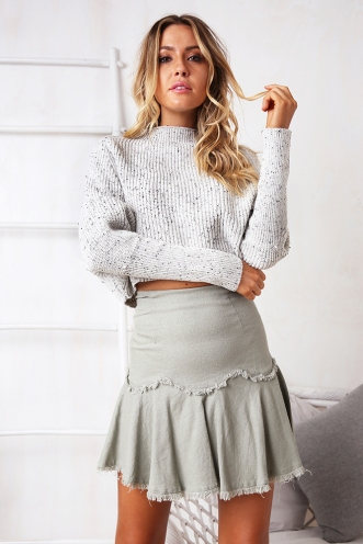 Air Time Crop Jumper - Light Grey
