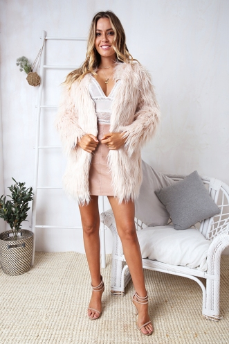 Who Dat? Faux Fur Coat - Pink