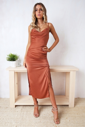 Make A Detour Dress - Rust
