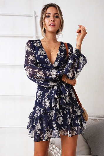 Fly With Me Dress - Navy Print