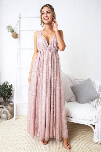 Candace Dress - Rose Gold Glitter