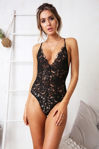Courtney Lace Bodysuit - Black