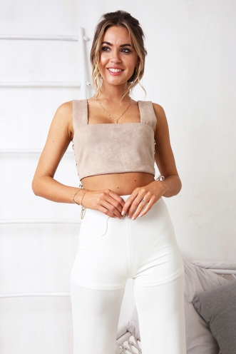 Broken Hearts Crop - Light Brown Suede