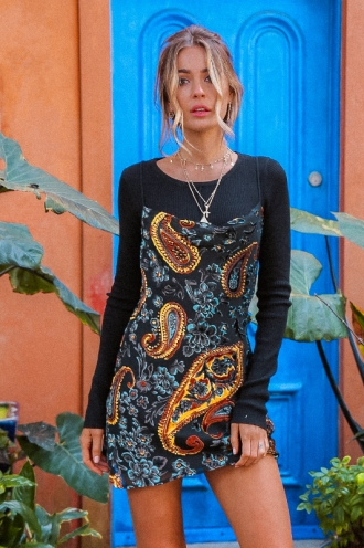 Sorrel Dress - Black Paisley