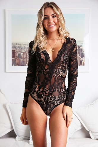 Sariana Bodysuit - Black Lace