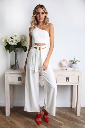 8bdcffe6d2601 Underneath the Sunrise Jumpsuit - White - STELLY