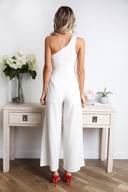 74d2b653f6922 Underneath the Sunrise Jumpsuit - White. Loading zoom