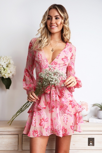 Fly With Me Dress - Pink Print