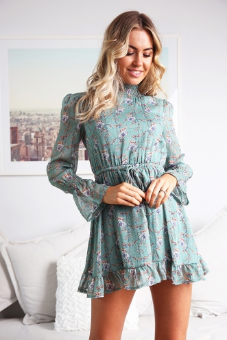 Sienna Dress - Green Print