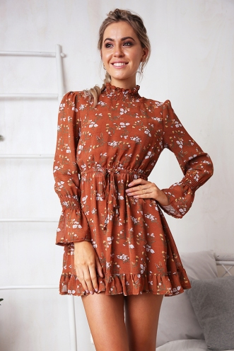 Sienna Dress - Brown Print