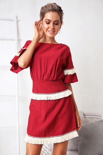Kaitlin Dress - Maroon Tassel
