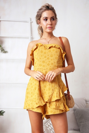 To Me, From Me Playsuit - Mustard Spot